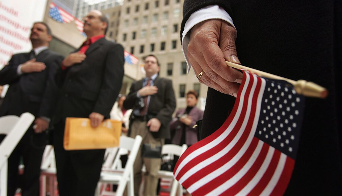 """New Citizens Sworn In At """"Democracy Plaza"""" In New York"""